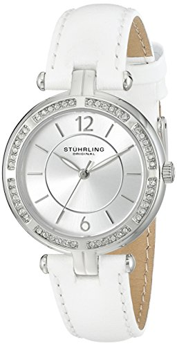 Stuhrling Original Women's Quartz Watch with Silver Dial Analogue Display and White Leather Strap 550. 01