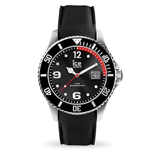 ICE-WATCH Ice Steel Black - Reloj Negro para Hombre con Correa de Silicona, 016030 (Medium)