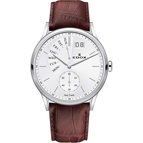 Edox Les Vauberts Reloj de Hombre Cuarzo 42mm Correa de Cuero 34500 3 AIN