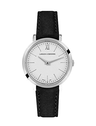 Larsson & Jennings LJXII Lugano Unisex Hombres & Mujer Relojes with 26mm Silver/Satin White Dial and Black Leather Strap LX26-LBK-SW.