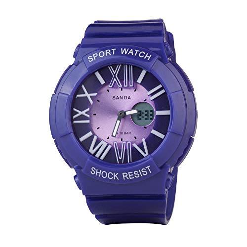 SANDA Relojes De Pulsera,Multi-Dobles Deportes Pantalla Luminosa Alpinismo de Reloj de los niños del Estudiante de Mujeres-púrpura