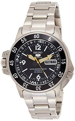 Seiko SKZ211K1 5 Diver's - Reloj para Hombre, automático, analógico, Esfera Negra, Correa de Acero Gris