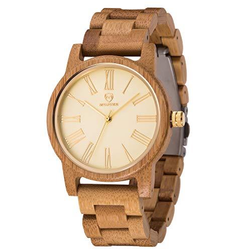 Reloj Madera Hombre, MUJUZE Cuarzo Japonés Casual Relojes de Madera de Bambú,Embalado en Caja de Regalo, Regalo Idea