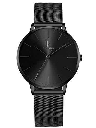Alienwork Reloj Mujer Relojes Acero Inoxidable Banda de Malla Metálica Negro Analógicos Cuarzo Impermeable Ultra-Delgada