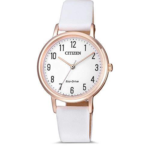 Citizen Reloj Analógico para Mujer de Cuarzo con Correa en Cuero EM0579-14A