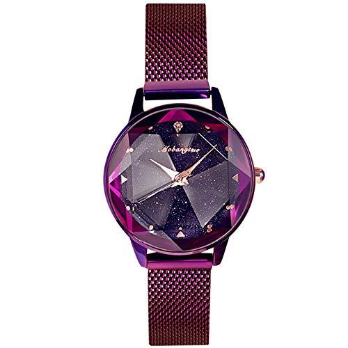 RORIOS Fashion Mujer Relojes de Pulsera Brillante Cielo Estrellado Dial Band de Mesh Acero Inoxidable Moda Vestir Relojes para Mujer