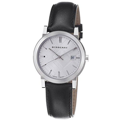 Burberry Reloj de correa de cuero negro con cheque grande BU9008