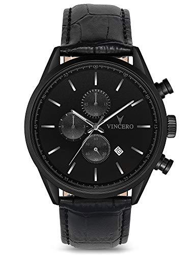 Reloj de Pulsera Chrono S de Lujo para Caballeros Vincero – Negro Mate con Correa de Cuero Negro – Reloj Cronógrafo de 43mm – Movimiento de Cuarzo Japonés