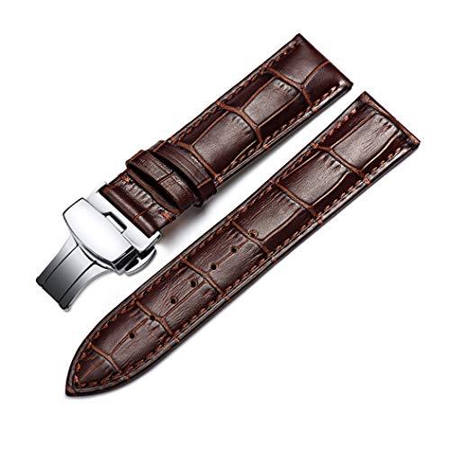 Correa De Reloj Cuero del Becerro Correa De Repuesto Pulsador Mariposa Deployant Clasp Ajuste para Tradicional Deportivo Reloj Inteligente 20mm Marrón