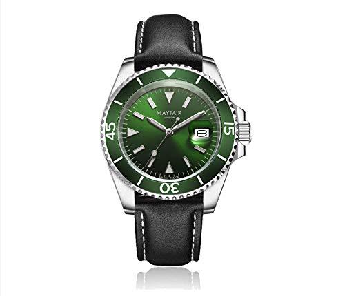 Blenheim London Reloj Navigator Luminous de Hombre, Cristal de Zafiro, Resistente al Agua, Esfera Verde.