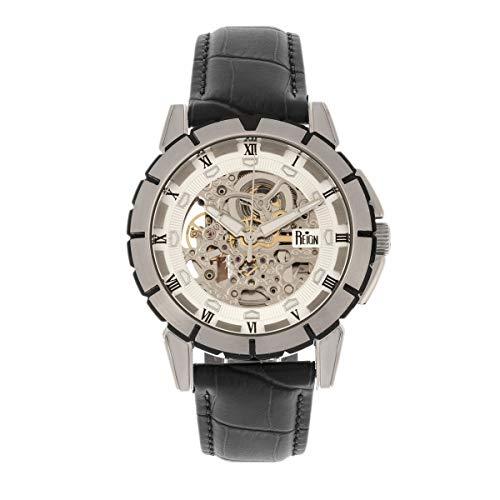 Reign Philippe REIRN4603 - Reloj automático con correa de piel, color plateado