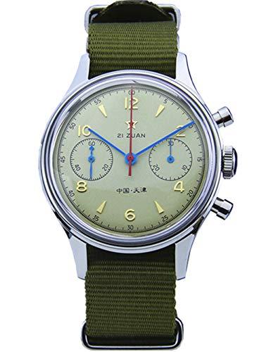 Seagull ST19 Movt - Reloj de Pulsera para Hombre, cronógrafo mecánico de acrílico, Parte Trasera de la Caja