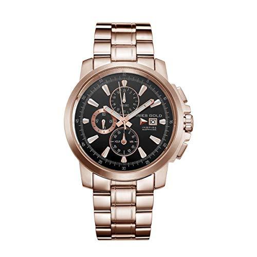 Aries Gold Reloj Analógico para Hombre de Cuarzo con Correa en Acero Inoxidable G 7301 RG-BKRG