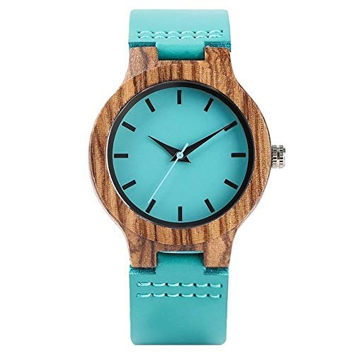 FMXKSW Reloj de Madera, Reloj de Madera Azul TurquesaRelojes de Madera de Cuarzo deModaReloj de bambú Moderno Reloj de Pulsera de Cuero, para Mujer