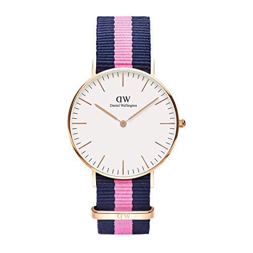 Daniel Wellington Classic Winchester, Reloj Azul-Rosa/Oro Rosado, 36mm, NATO, para Mujer y Hombre