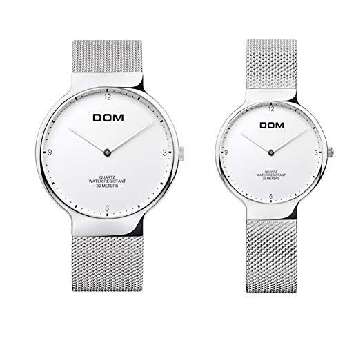 Reloj De Pareja Cuarzo Analógico Reloj Diseño De Lujo Clásico Simple Con Correa De Plata Acero Inoxidable Para Valentines Regalos
