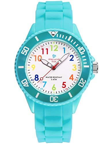 Alienwork Kids Reloj de Aprendizaje Infantil Niña Turquesa Pulsera de Silicona Abigarrado niños Impermeable 5 ATM Tiempo de Aprender