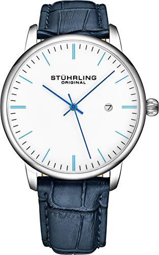 Stuhrling 3997Z - Reloj analógico para hombre con correa de piel de becerro - Vestido + diseño casual - Reloj analógico con fecha, colección para hombre