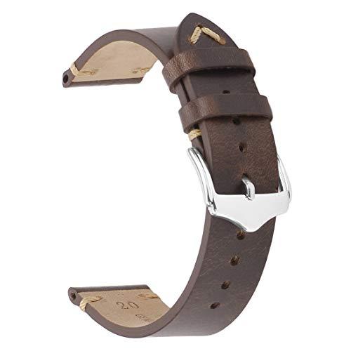 Leather Watch Strap,EACHE Oil Wax Calfskin Watch Band,Men Women Watch Replacement,Dark Brown-22mm
