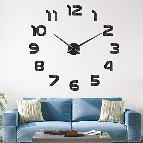 SOLEDI Reloj de Pared 3D DIY Reloj de Etiqueta de Pared Decoración Ideal para la Casa Oficina Hotel Restaurante Negro