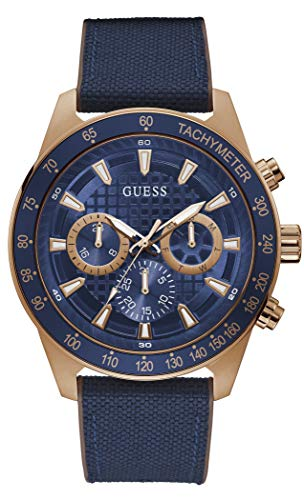 GUESS Men's Stainless Steel Quartz Watch with Silicone Strap, Blue, 24 (Model: GW0206G2)