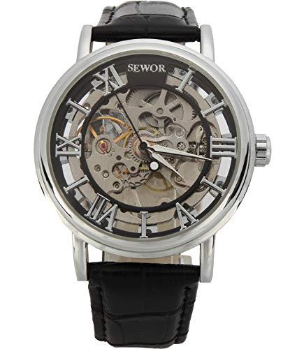 SEWOR - Reloj de Pulsera mecánico Transparente esqueletizado para Hombre, con Correa Estilo Vintage (Negro)