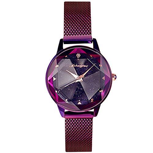 RORIOS Mujer Relojes de Pulsera Brillante Cielo Estrellado Dial Mesh Band Relojes de Mujer Women Watches