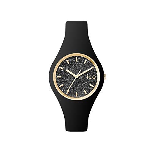 ICE-WATCH ICE Glitter Black - Reloj Negro para Mujer con Correa de Silicona, 001349 (Small)