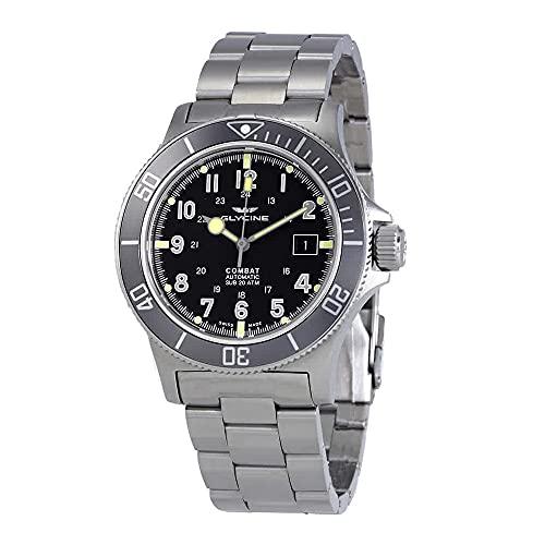 Glycine Combat Sub Automático Dial Negro Reloj para Hombre GL0076