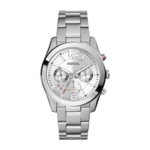 Fossil Boyfriend, Reloj analógica para Mujer con Caja y Correa en Acero Inoxidable tonalidad Plateada ES3883
