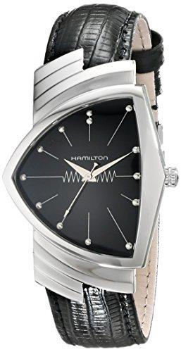 Hamilton Mens H24411732 Ventura Reloj de Acero Inoxidable con Correa de Cuero Negro