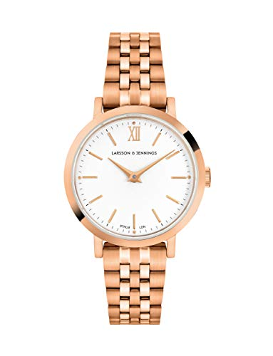 Larsson & Jennings Lugano Female Watch with 26mm Satin White dial and Rose Gold Rose Gold Plated Stainless Steel Strap LJXII126004.