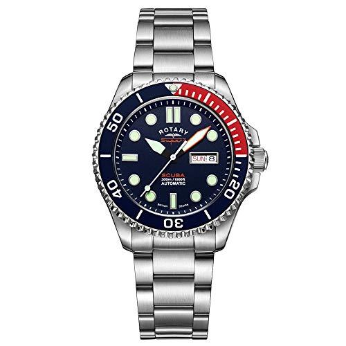 Rotary Super 7 Scuba «Pepsi» (S7S004B) Reloj automático para hombre con pulsera de acero inoxidable plateado y esfera azul marino