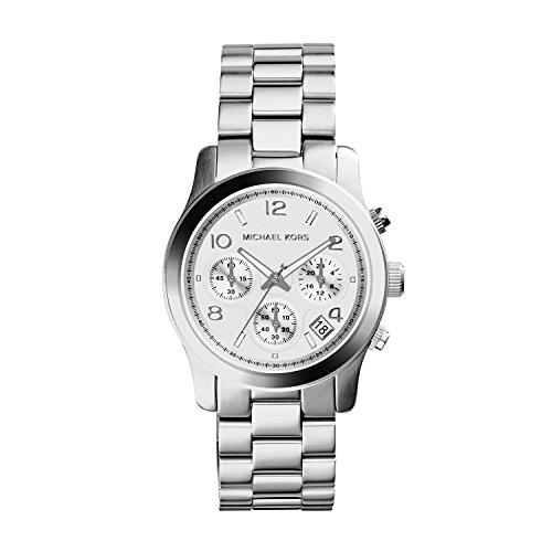 Michael Kors Runway - Reloj análogico de cuarzo con correa de acero inoxidable para mujer, color plateado