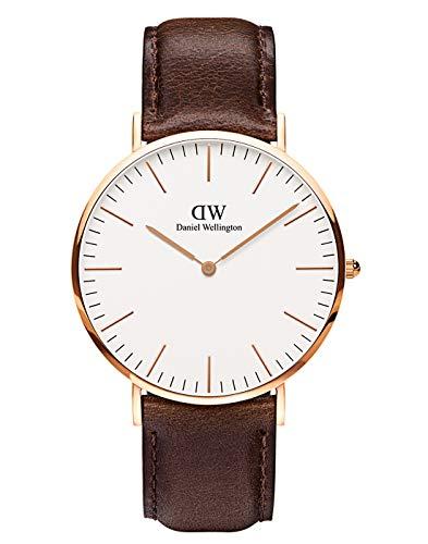 Daniel Wellington Classic Bristol, Reloj Marrón/Oro Rosado, 40mm, Cuero, para Hombre