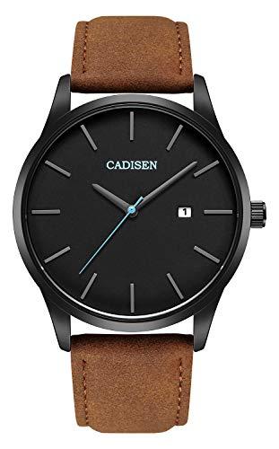 CADISEN - Reloj de pulsera para hombre, impermeable, casual, correa de piel, resistente al agua, color marrón