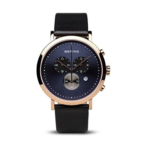 Bering 10540-567 - Reloj de pulsera para hombre, correa de piel, color negro