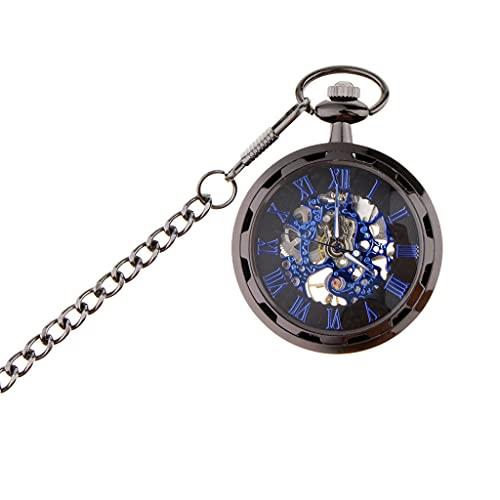 Harilla Regalos Mecánicos Hechos A Mano del Reloj del Esqueleto del Punky Azul Retro