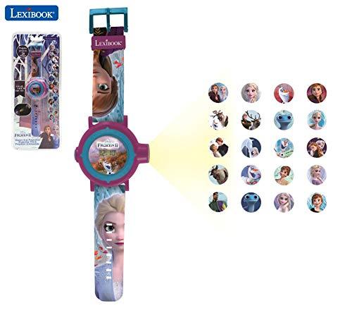 LEXIBOOK- Disney Frozen 2 Reloj Correa Ajustable Pantalla Digital con 20 proyecciones de Elsa, Anna y Olaf Niñas-Azul y Morado