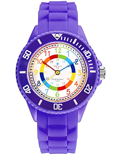 Alienwork Kids Reloj de Aprendizaje Infantil Niña Violeta Pulsera de Silicona niños Impermeable 5 ATM Tiempo de Aprender