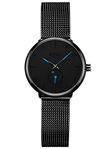 Alienwork Reloj Mujer Relojes Acero Inoxidable Banda de Malla Metálica Negro Analógicos Cuarzo Impermeable Ultra-Delgada Clásico