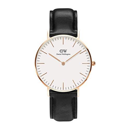 Daniel Wellington Classic Sheffield, Reloj Negro/Oro Rosado, 36mm, Cuero, para Mujer y Hombre