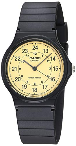 Casio MQ24-9B - Reloj analógico de Cuarzo de Resina Negra con Esfera Beige