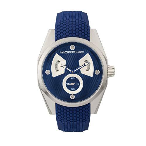 Morphic M34 Series Reloj para hombre con día/fecha, plateado/azul