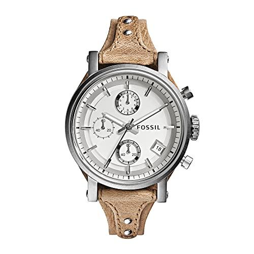 Reloj para mujer FOSSIL Original Boyfriend, tamaño de caja de 38 mm, movimiento de cronógrafo de cuarzo, correa de piel