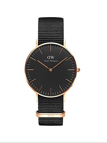 Daniel Wellington Classic Cornwall, Reloj Negro/Oro Rosado, 36mm, NATO, para Mujer y Hombre