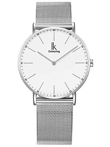 Alienwork IK Reloj Hombre Mujer Plata Banda de Malla Metálica Blanco Ultra-Delgada