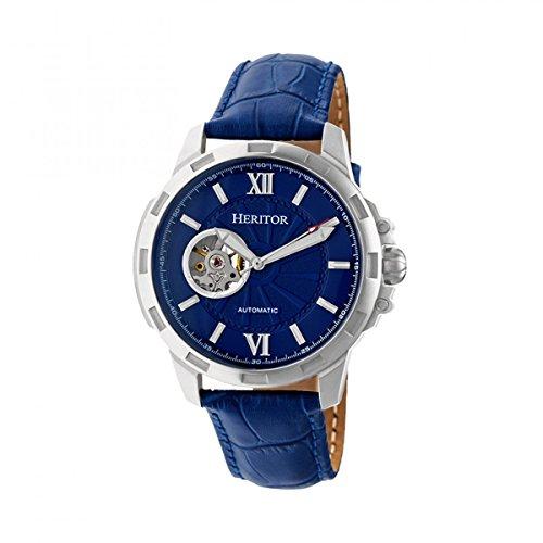 Heritor Reloj automático Bonavento semiesquelético con banda de piel, plateado/azul, talla única, HERHR5603