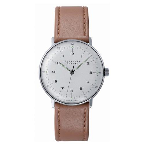 Junghans Max Bill Handaufzug - Reloj analógico de caballero automático con correa de piel marrón
