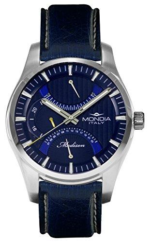 Mondia Italy Madison MI745-2CP - Reloj de pulsera para hombre, multifunción, correa de auténtica piel de avestruz.
